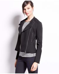 Ann Taylor - Black Crepe Moto Jacket - Lyst