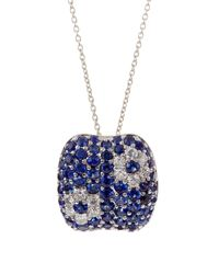 Roberto Coin | Blue Diamond and Sapphire Flower Pendant Necklace | Lyst