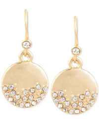 Kenneth Cole | Metallic Gold-tone Pavé Circle Drop Earrings | Lyst