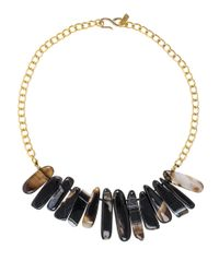 Kenneth Jay Lane | Metallic Black Agate Spike Collar Necklace | Lyst