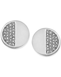 kate spade new york - Metallic Crystal Pavé Half Circle Stud Earrings - Lyst