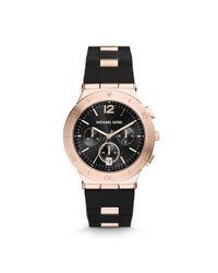 Michael Kors - Pink Wyatt Rose Gold-tone Black Silicone Watch - Lyst