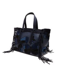 Valentino - Blue C-rockee Butterfly Embroidered Fringe Tote Bag - Lyst