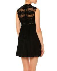 Valentino - Black Sleeveless Macrame Babydoll Dress - Lyst