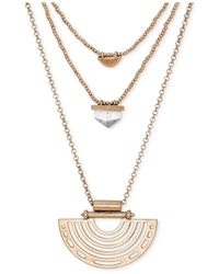 Lucky Brand | Metallic Gold-tone Geo Layer Pendant Necklace | Lyst