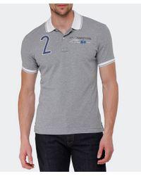 La Martina - Gray Contrast Collar Logo Polo Shirt for Men - Lyst