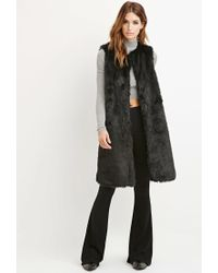 Forever 21 - Black Contemporary Longline Faux Fur Vest - Lyst