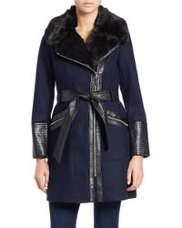 Via Spiga - Blue Leathertte And Faux Fur-trimmed Coat - Lyst