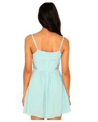 Missguided | Blue Francina Crochet Detail Swing Dress In Mint | Lyst