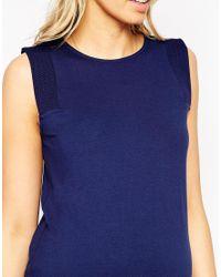 ASOS - Blue Maternity Textured Panel Vest - Lyst