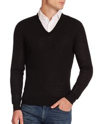 Ralph Lauren - Black Merino V-neck Sweater for Men - Lyst