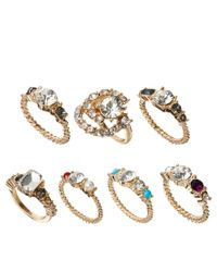 ASOS | Metallic Vintage Style Faux Pearl Stone Ring Pack | Lyst