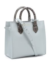 Balenciaga - Gray Light Grey Leather And Python 'Mini All Afternoon' Convertible Tote Bag - Lyst
