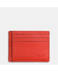 COACH | Orange Card Case In Crossgrain Leather for Men | Lyst