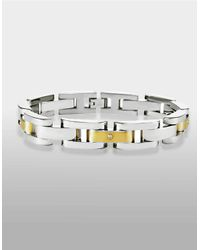 Lord & Taylor - Metallic Mens Stainless Steel And 14 Kt. Yellow Gold Bracelet With Diamond Accents for Men - Lyst