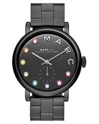 Marc Jacobs - Black 'baker' Crystal Index Bracelet Watch - Lyst