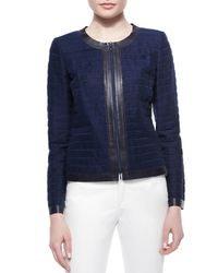 Lafayette 148 New York - Blue Catrice Zip-front Striated Linen Jacket - Lyst