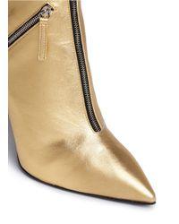 Giuseppe Zanotti - 'yvette' Metallic Leather Zip Boots - Lyst