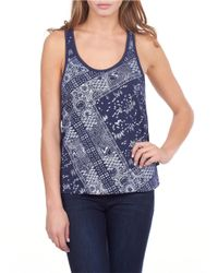 William Rast | Blue Bandana Print Tank Top | Lyst