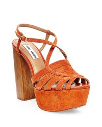 Steve Madden | Orange Gingur Suede Platform Sandals | Lyst
