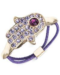 RACHEL Rachel Roy | Gold-Tone Purple Hamsa Hand Stretch Ring | Lyst