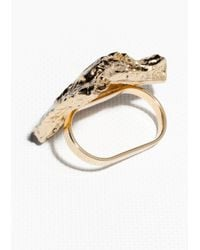 & Other Stories - Metallic Chunky Rock Double Ring - Lyst