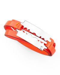 McQ - Orange Razor Blade Wrap Bracelet - Lyst