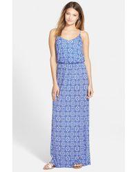 Lush - Blue Knit Maxi Dress - Lyst