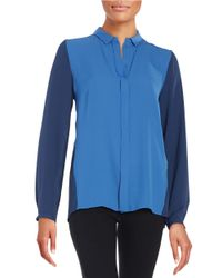 T Tahari - Blue Matisse Colorblock Blouse - Lyst