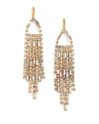 ABS By Allen Schwartz | Metallic Fringe Drop Earrings | Lyst