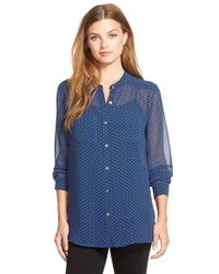 Two By Vince Camuto | Blue Print Band Collar Shirt | Lyst