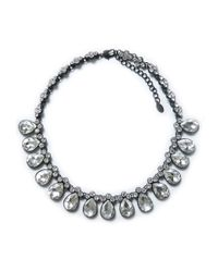 Zara | Metallic Crystal Drop Necklace | Lyst