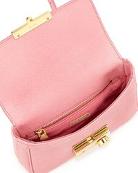 Prada - Pink Saffiano Rounded Mini Sound Bag - Lyst