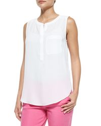 NYDJ - White Sleeveless Pleated-back Blouse - Lyst