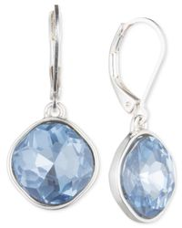 Nine West - Silver-tone Blue Glass Stone Teardrop Earrings - Lyst