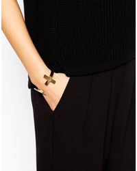 Mango - Metallic Double Cross Cuff Bracelet - Lyst