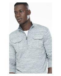 Express | Blue Marled Half Zip Mock Neck Sweater for Men | Lyst