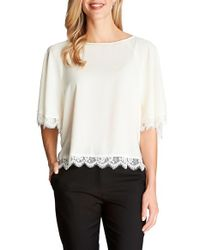 Cece by Cynthia Steffe | White Lace Trim Flutter Sleeve Blouse | Lyst