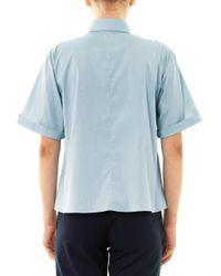 Jil Sander Navy - Blue Pointcollar Poplin Shirt - Lyst