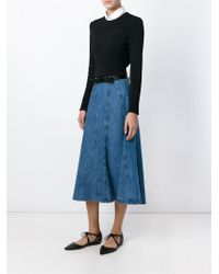 Michael Kors - Blue Panelled Flared Denim Skirt - Lyst
