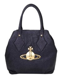 Vivienne Westwood | Black Ebury Glitter Leather Tote Bag | Lyst