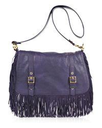 Tory Burch | Blue Sawla Fringed Leather Messenger Bag | Lyst