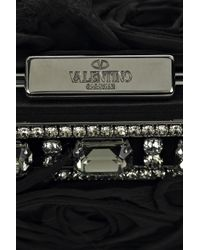 Valentino - Black Glam Rose and Feather Clutch - Lyst