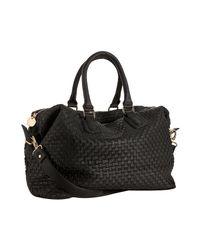 Deux Lux | Black Woven Faux Leather Luella Overnight Bag | Lyst