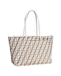 Fendi | Natural Beige and White Zucca Large Tote | Lyst