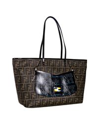 Fendi | Brown Black Patent Trim Zucca Spalmati Handbag Large Tote | Lyst
