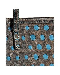 Fendi - Brown and Teal Perforated Zucca Spalmati Small Tote - Lyst