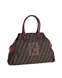 Fendi | Brown Purple and Red Trim Zucca Canvas Bag De Jour Tote | Lyst