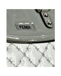Fendi | White Quilted Fabric Sequin Detail Carryall Bag | Lyst