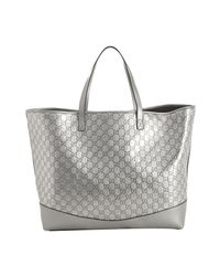 Gucci - Metallic Silver Ssima Leather Travel Tote - Lyst